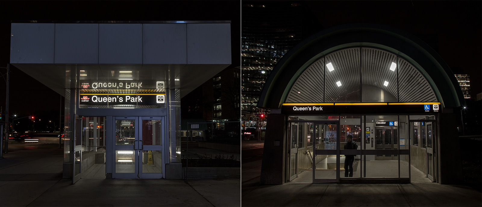 Photo 20131203. New vs. old subway entrances at TTC's Queen's Park station, Toronto.