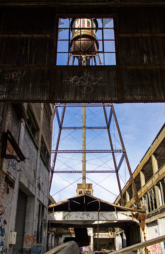 Photo 20131208. The water tower stands amidst ruins at Detroit's Packard Plant (c.1903).