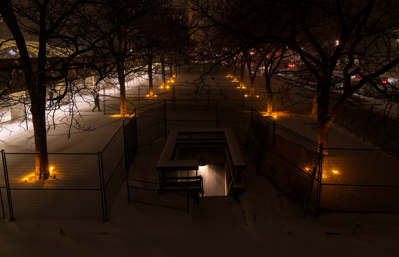Photo 20131217. Orange trees frame a stairwell going down below Nathan Philips Square, Toronto.