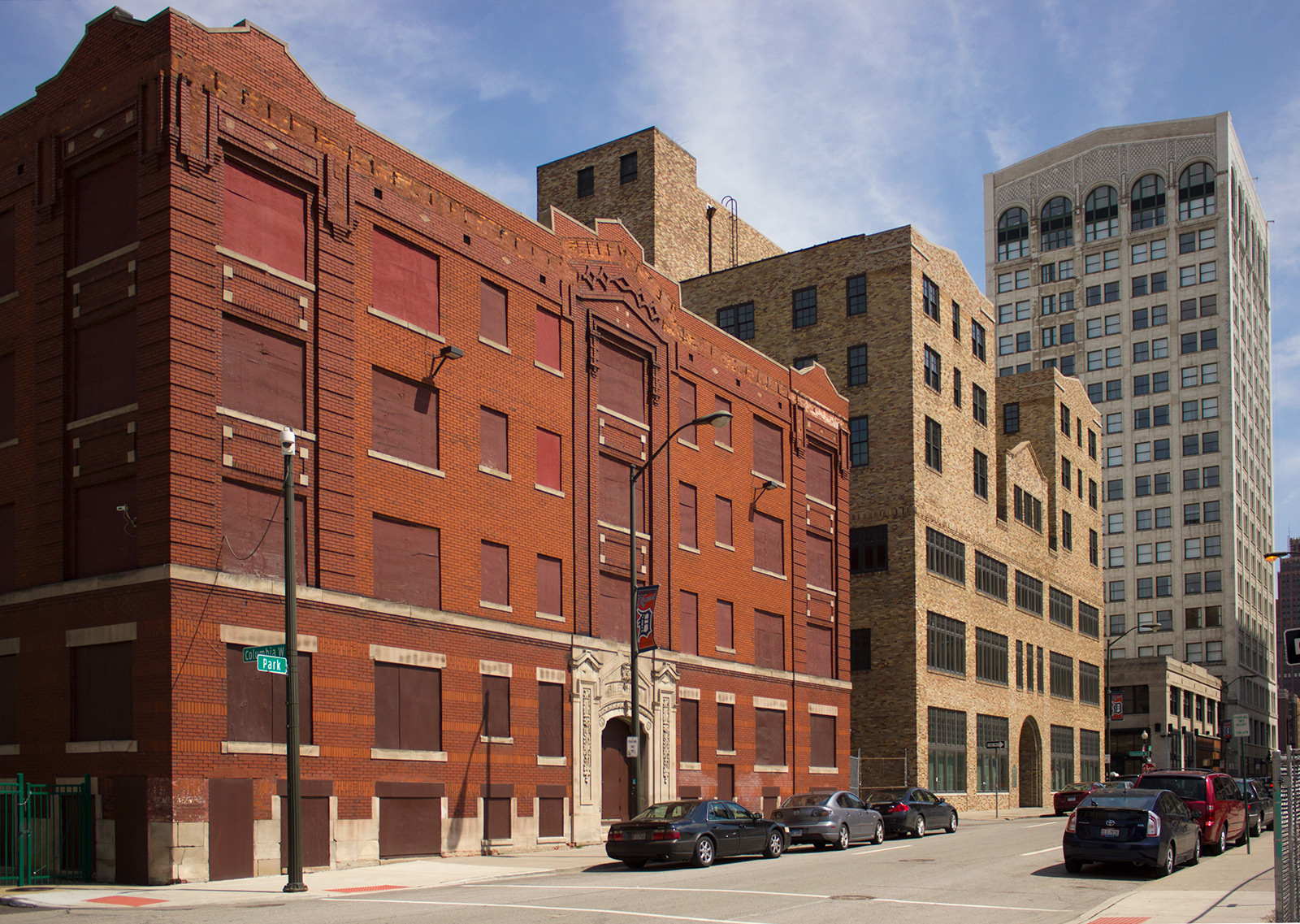 20140106. Detroit's Park Ave. From left to right: Blenheim Apts (1909), Cliff Bell's Club (1935), Women's City Club (1922), Kales Bldg (1914).