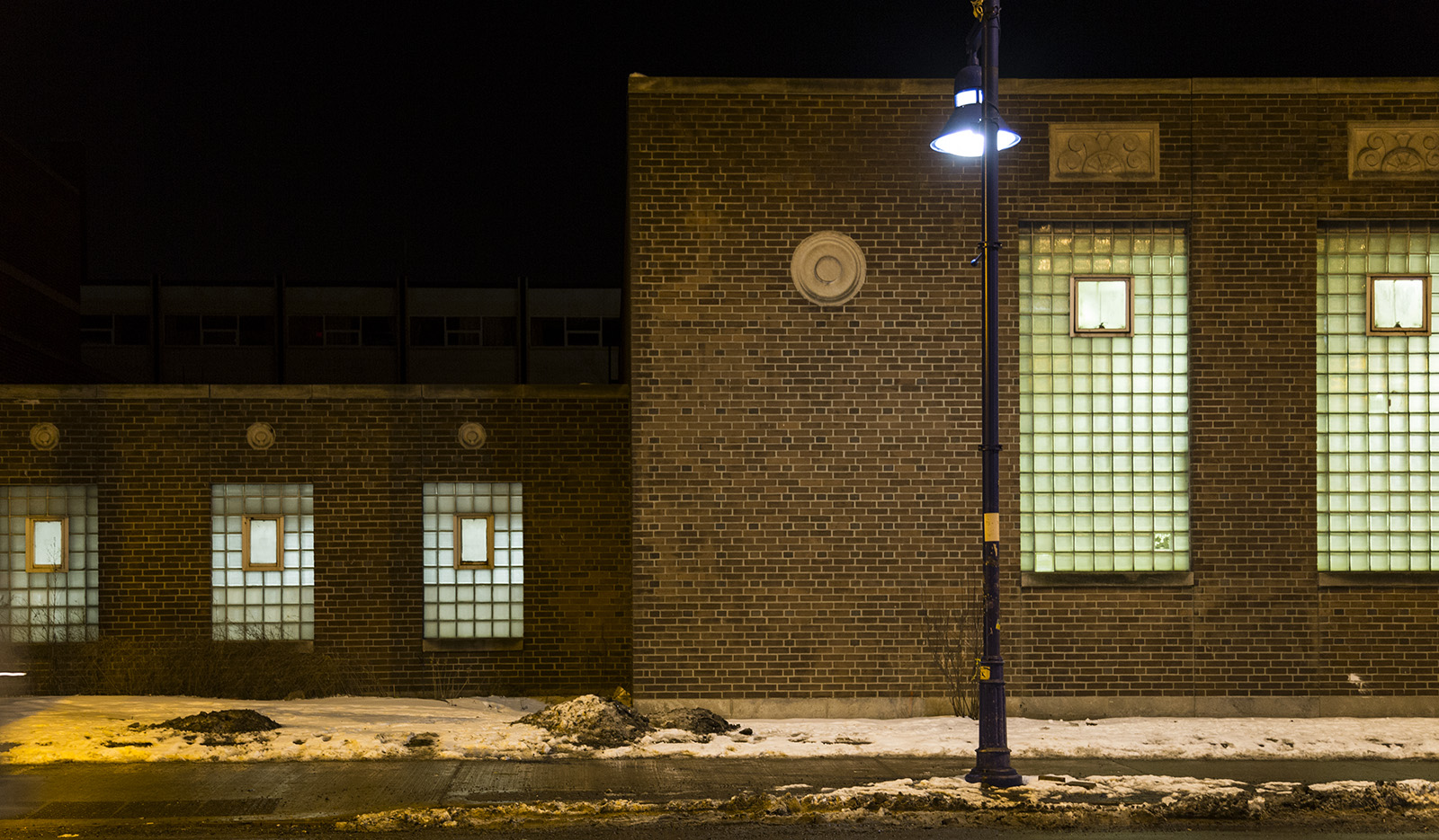20140203. Bloor Collegiate Institute's windows have many panes and muntins (Bloor and Dufferin, Toronto).