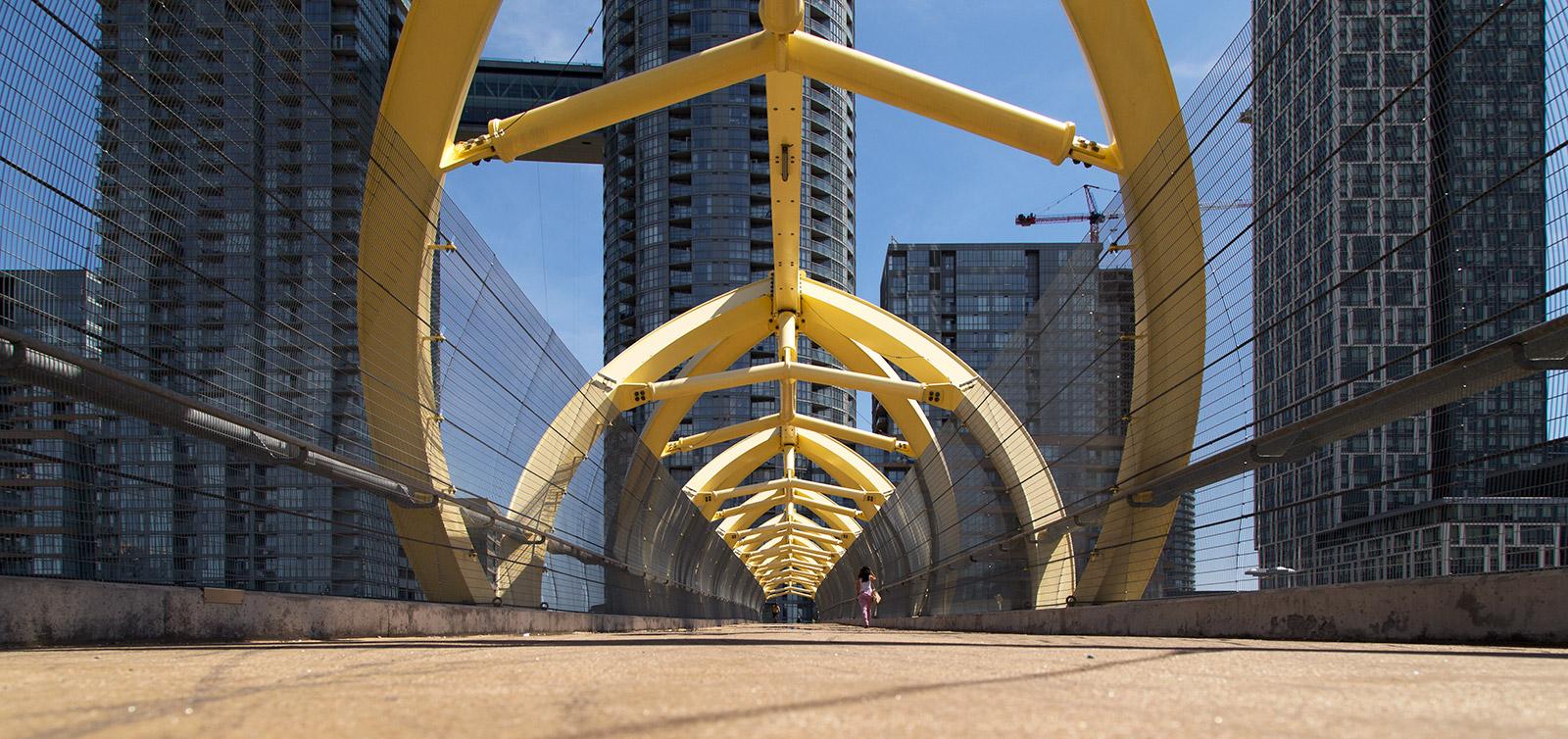 20140602. The Puente de Luz (Bridge of Light) to the vertical neighbourhoods of CityPlace (Toronto).