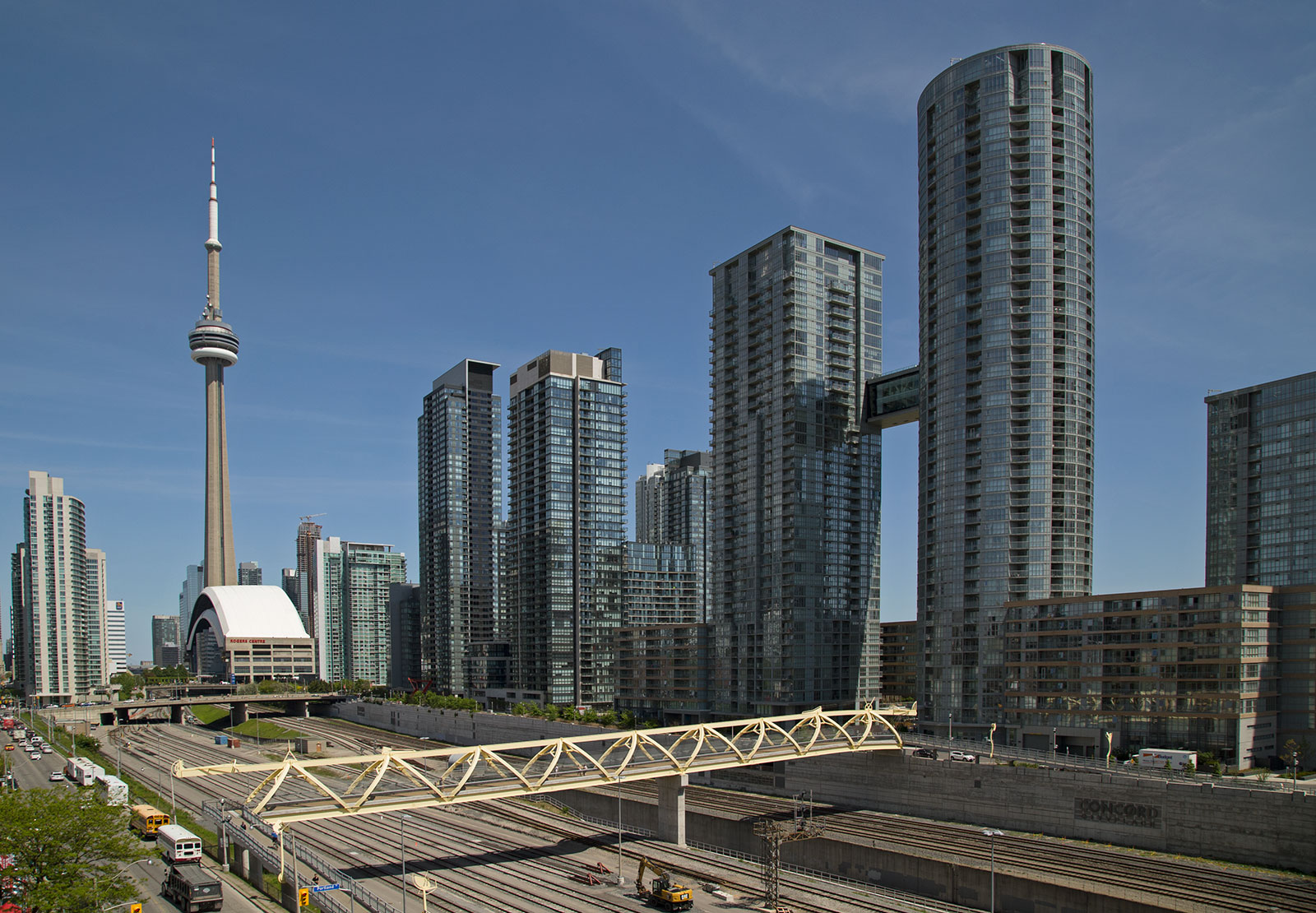 20140602. An aerial view of the Puente de Luz bridge and CityPlace (Toronto).