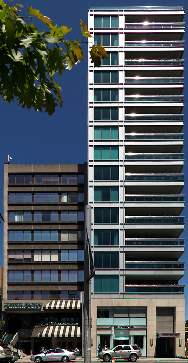 20140607. A dichotomy on Bloor St in Toronto - short old offices vs. tall new condos.