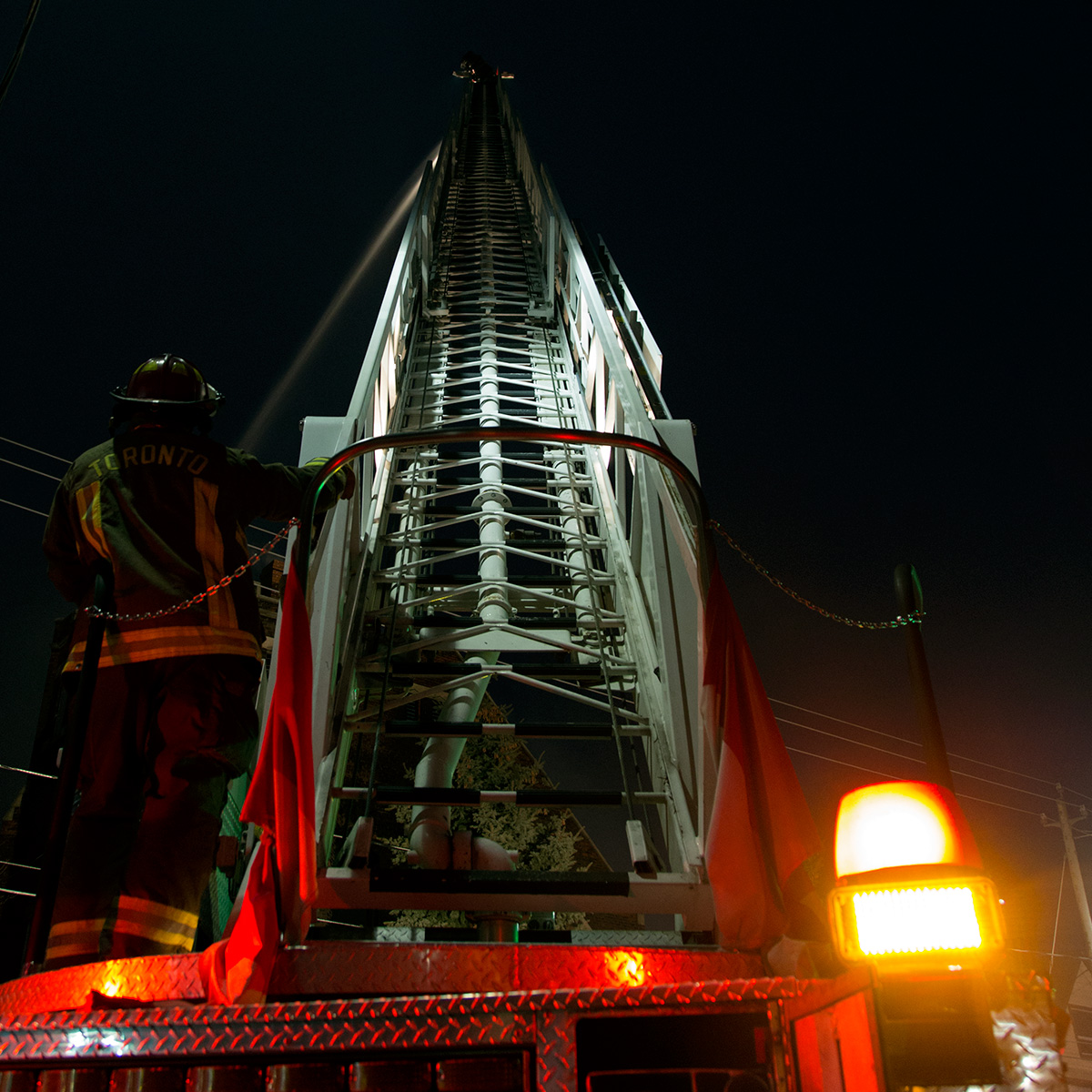 20140610. It is a long way to the top of a Toronto aerial fire truck .