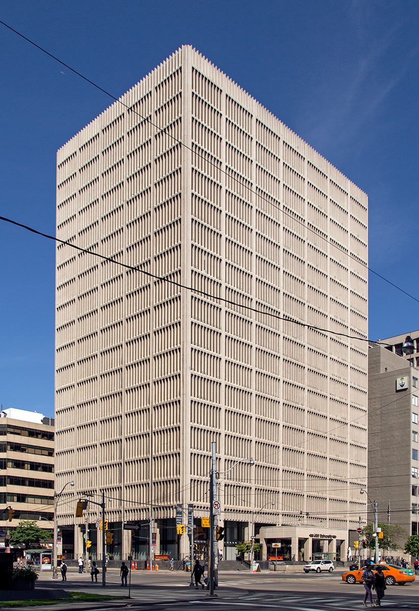 20140613. The Global House office tower (480 University Ave, Toronto, c.1968) will be getting a complete makeover and a 37 story residential addition. This impressive International-style facade will be lost to yet another glass envelope. You can see the ne