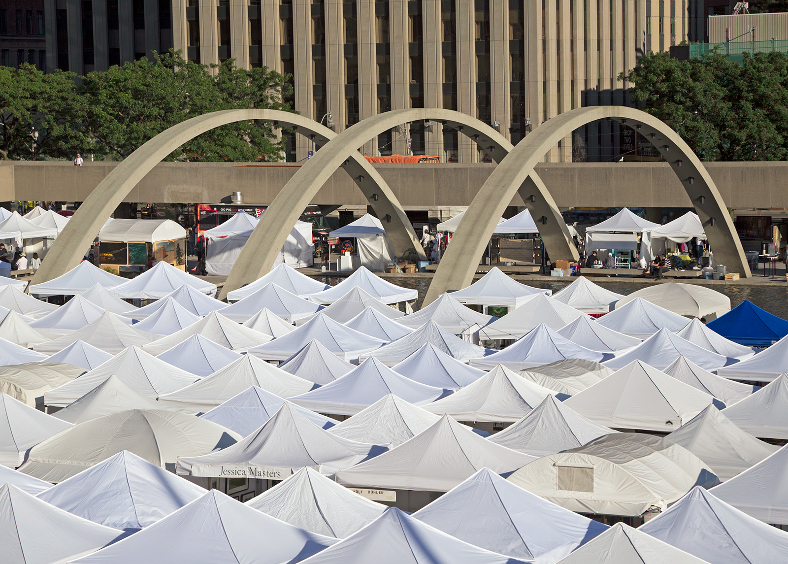 20140705. A sea of tents at the Toronto Outdoor Art Exhibition at Nathan Phillips Square.
