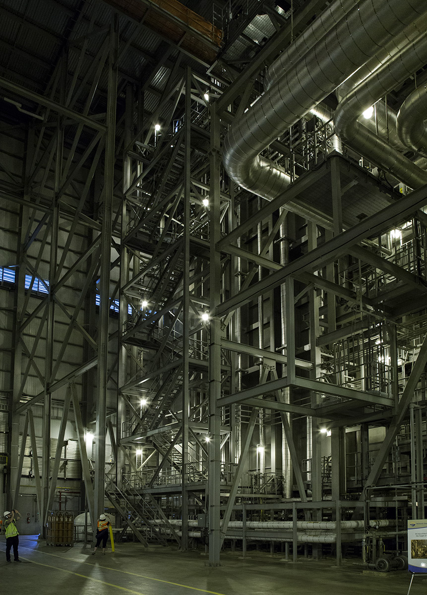 20140709. Ducts, frames and stairwells inside the Portlands Energy Centre in Toronto.