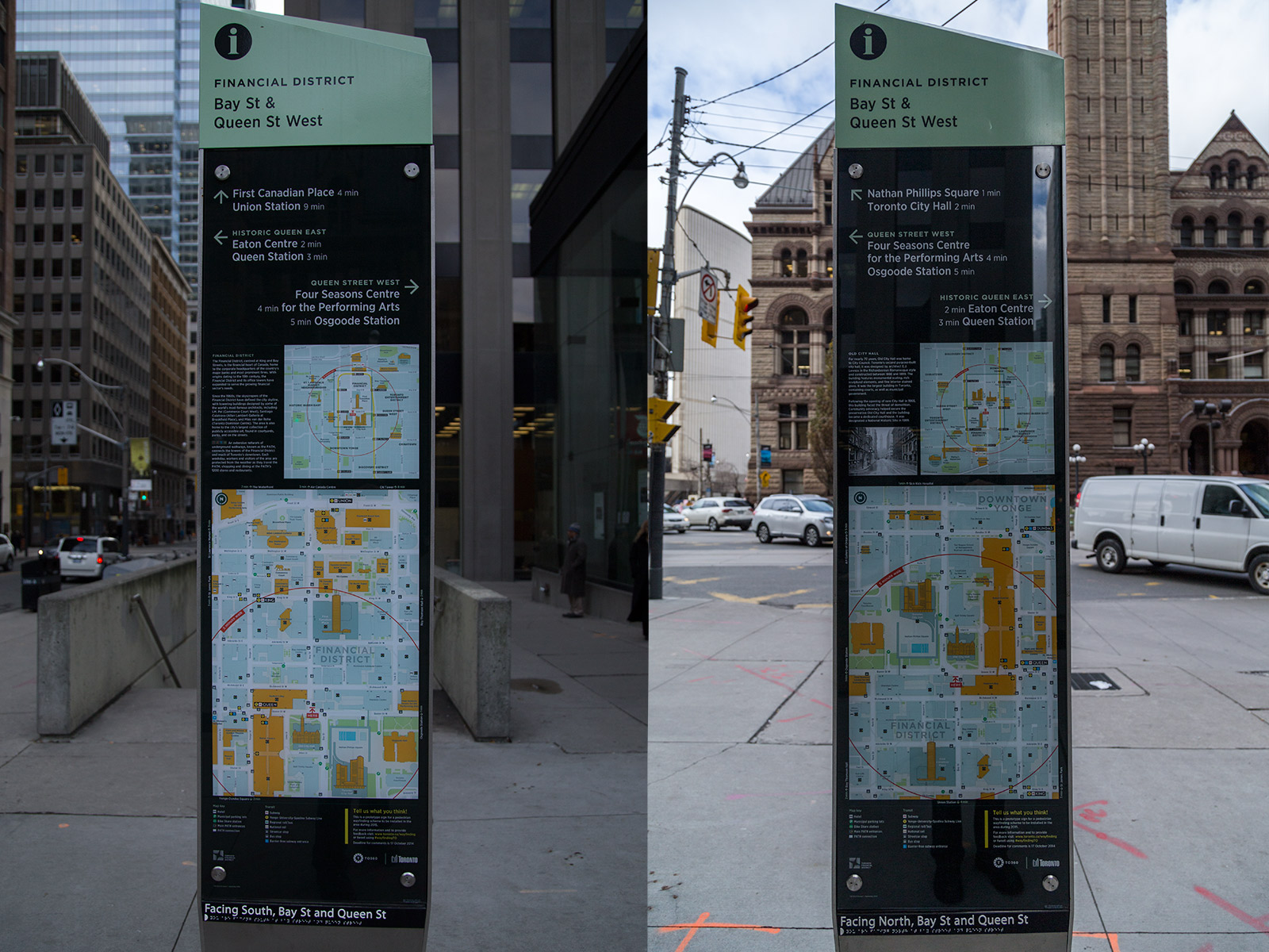 Toronto's new wayfinding sign prototype at Queen and Bay is dire