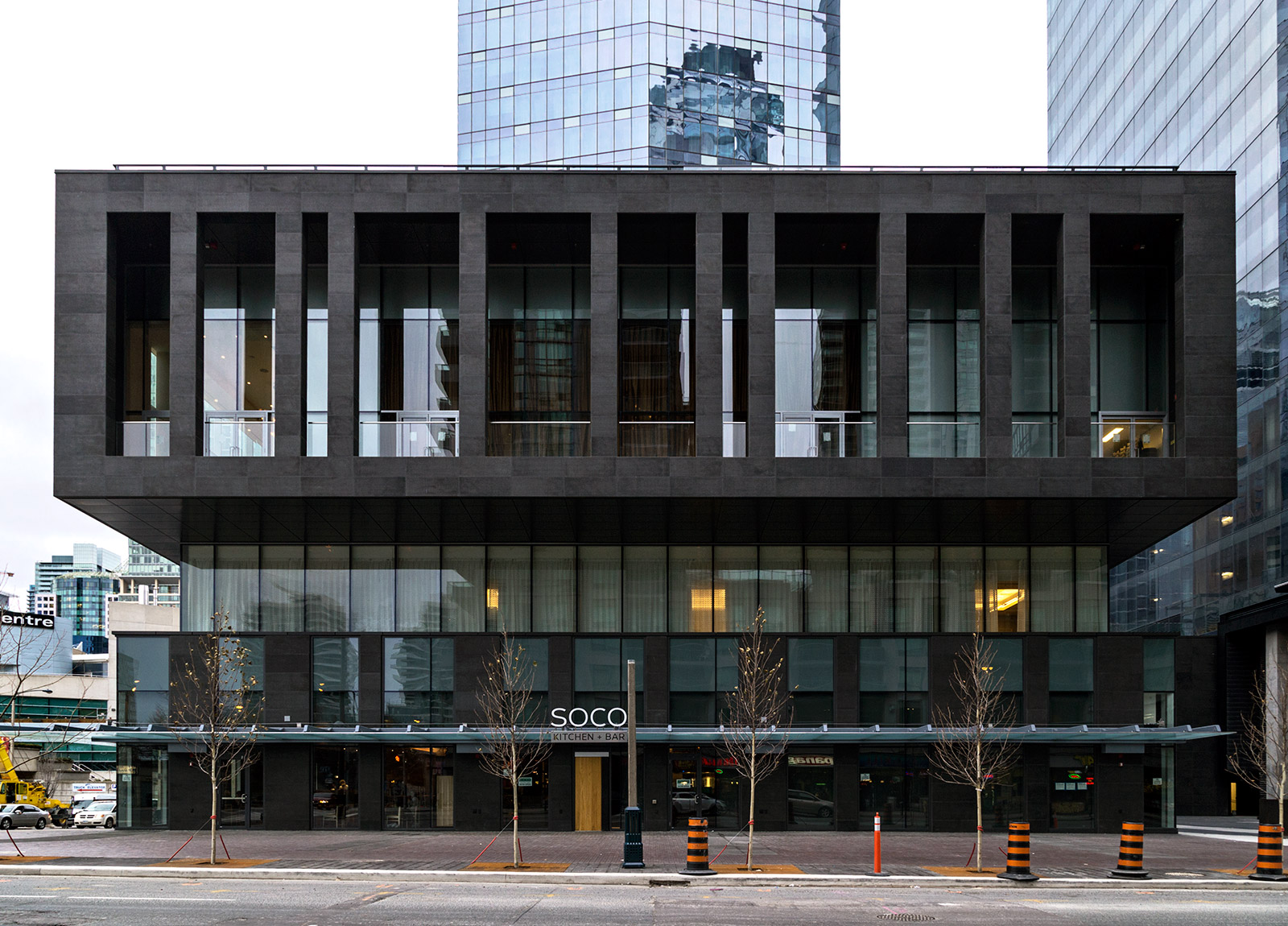 20141208. The Delta Toronto hotel podium projects forward while