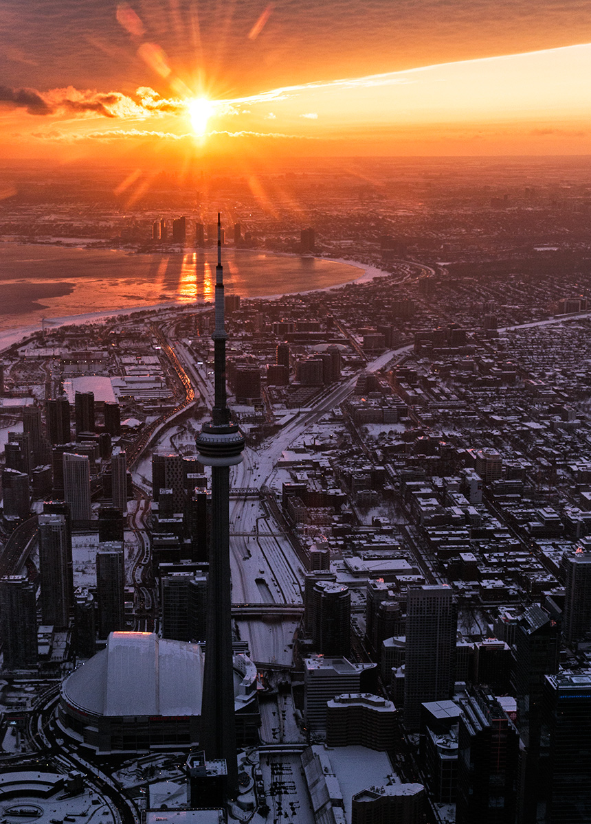 20150224. The shadow side of Toronto's CN Tower at sunset.