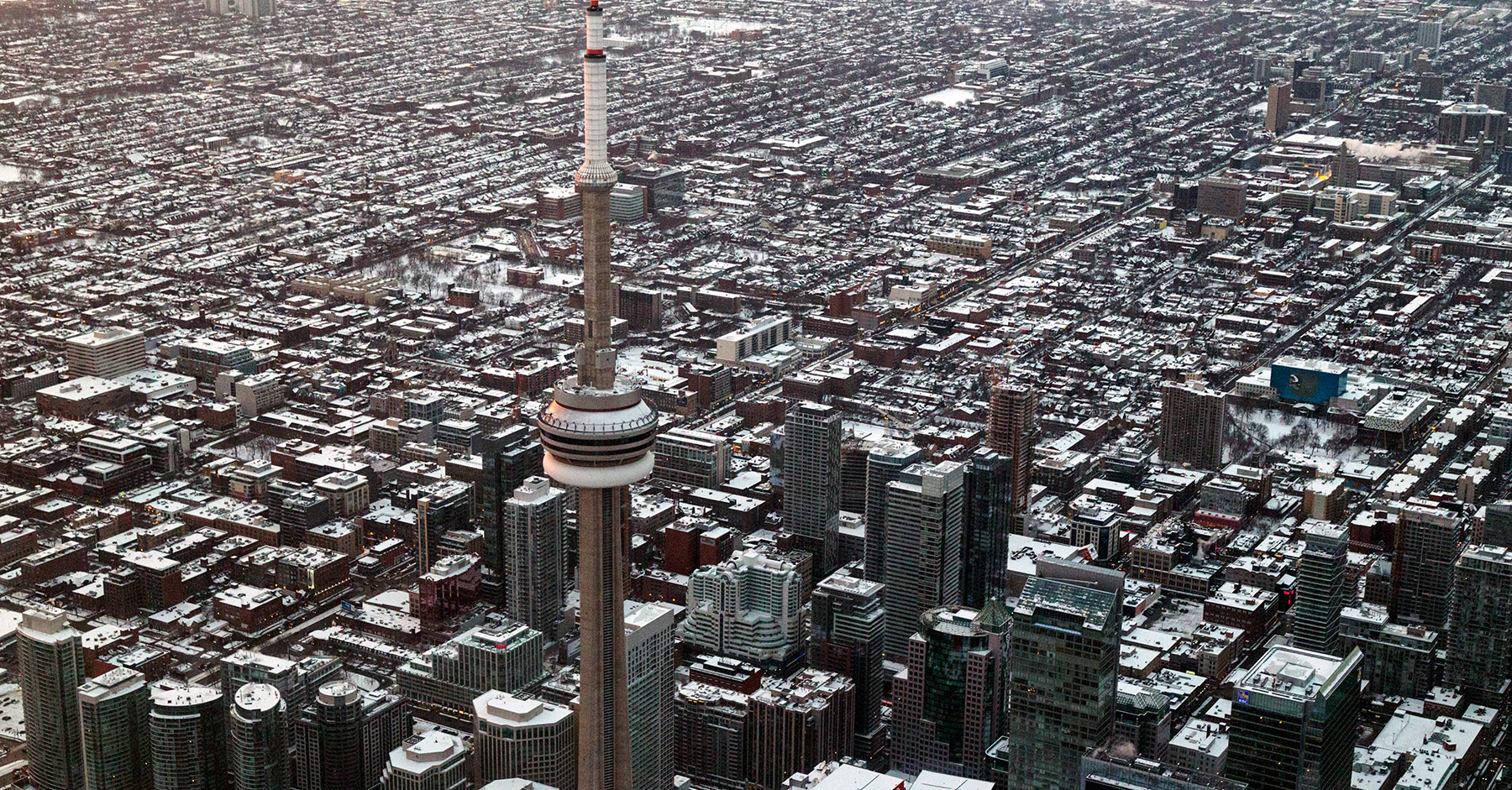 20150227. In an aerial photo of Toronto. The CN Tower stand sent