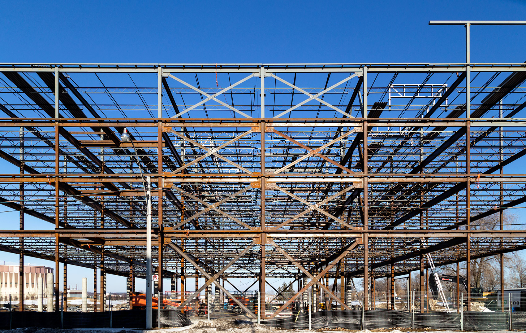 20150309. The skeleton of a self-storage structure sits at a cor