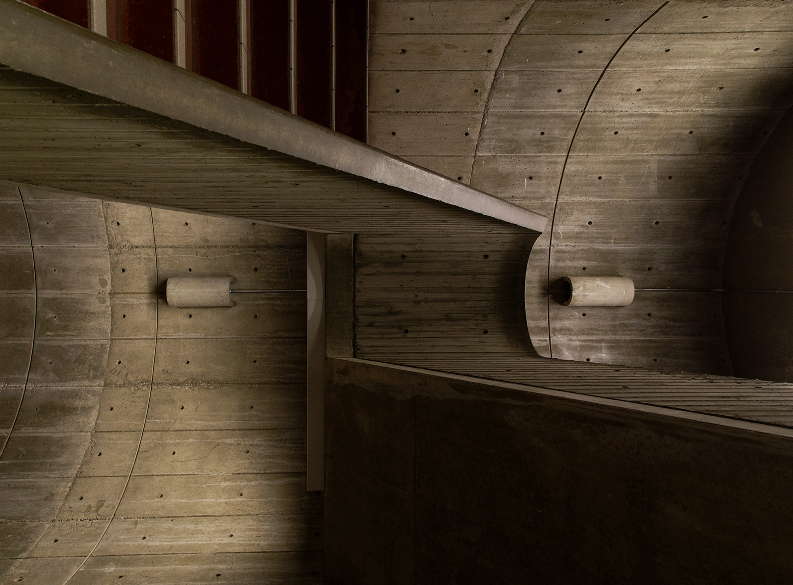 20150322. Sideways Stairwell and Sconces on a Concrete Campus. M