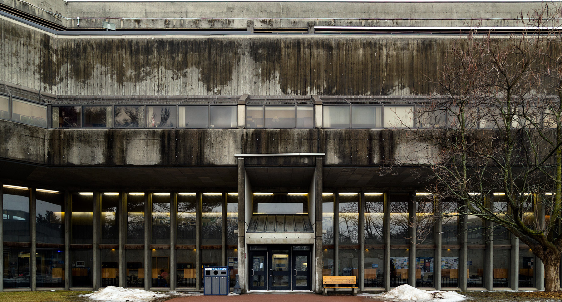 20150324. The striking modern facade of the brutalist Science Wi
