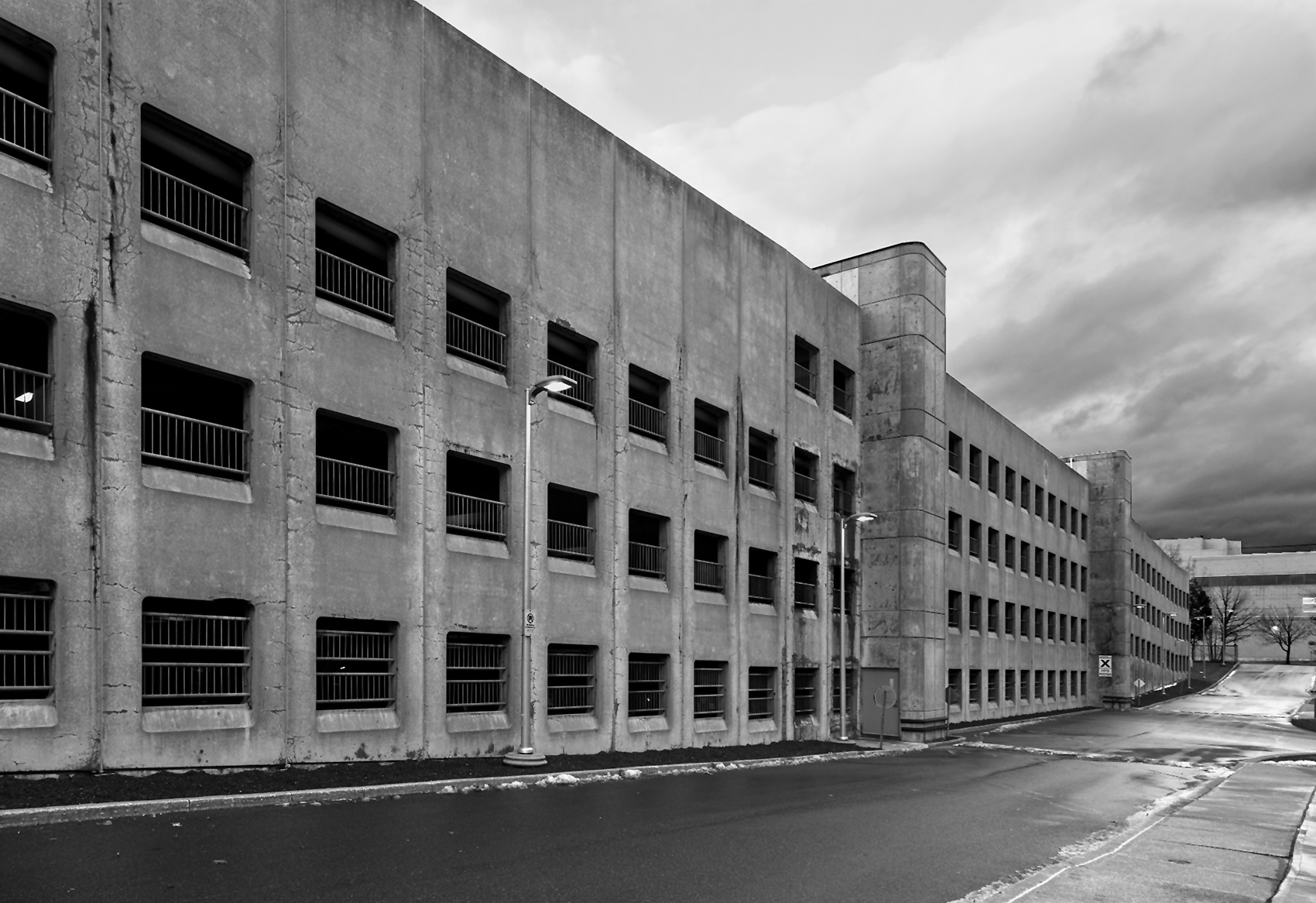 20150407. A massive concrete parkade stretches into the distance