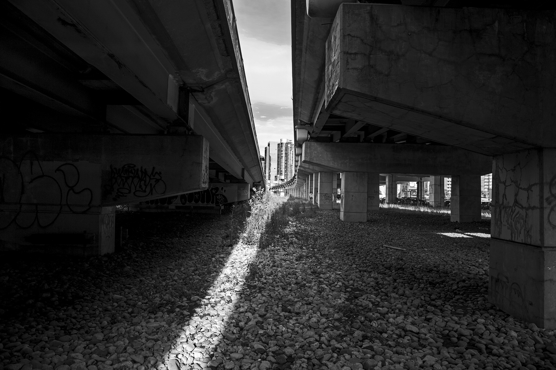 20150430. Under and in between Toronto's Gardiner Expressway and