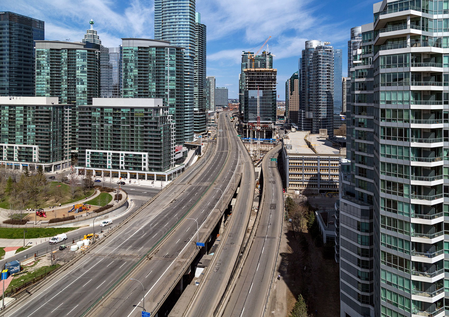 20150503. 70m below an empty Gardiner Expressway winds through s