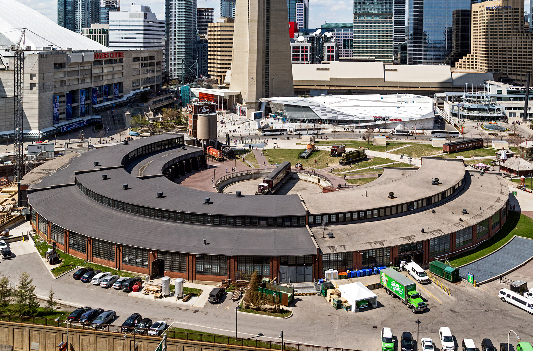 20150504. An aerial shot of Toronto's John Street Roundhouse. Vi