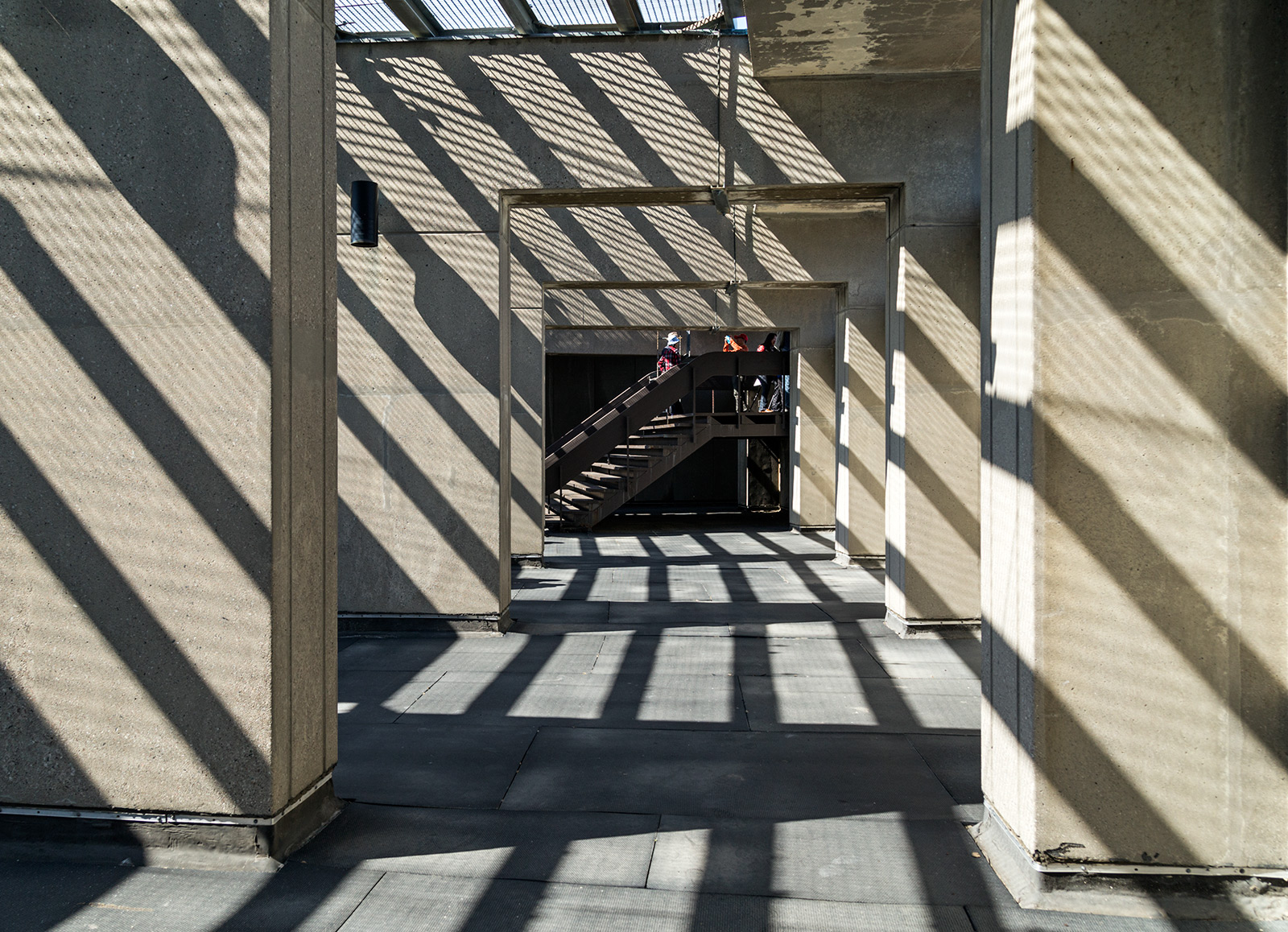 20150527. Shadows enhance City Hall's observation deck. Pic 23/2