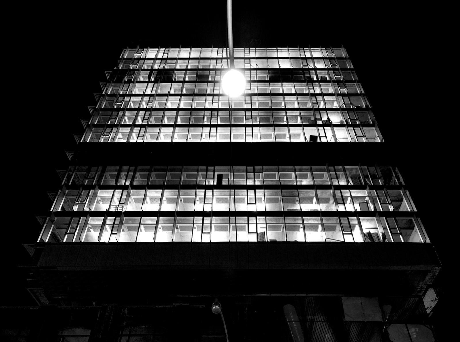 20150628. Street light versus glass box building at night. Shot