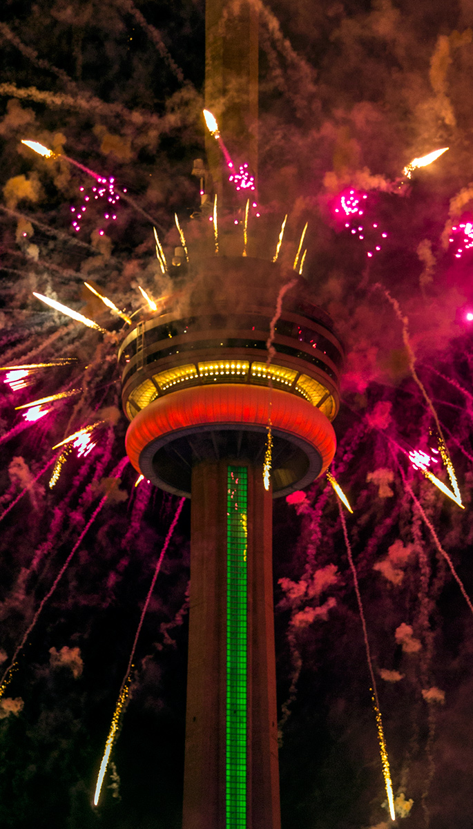 20150711. The CN Tower explodes with fireworks during the openin