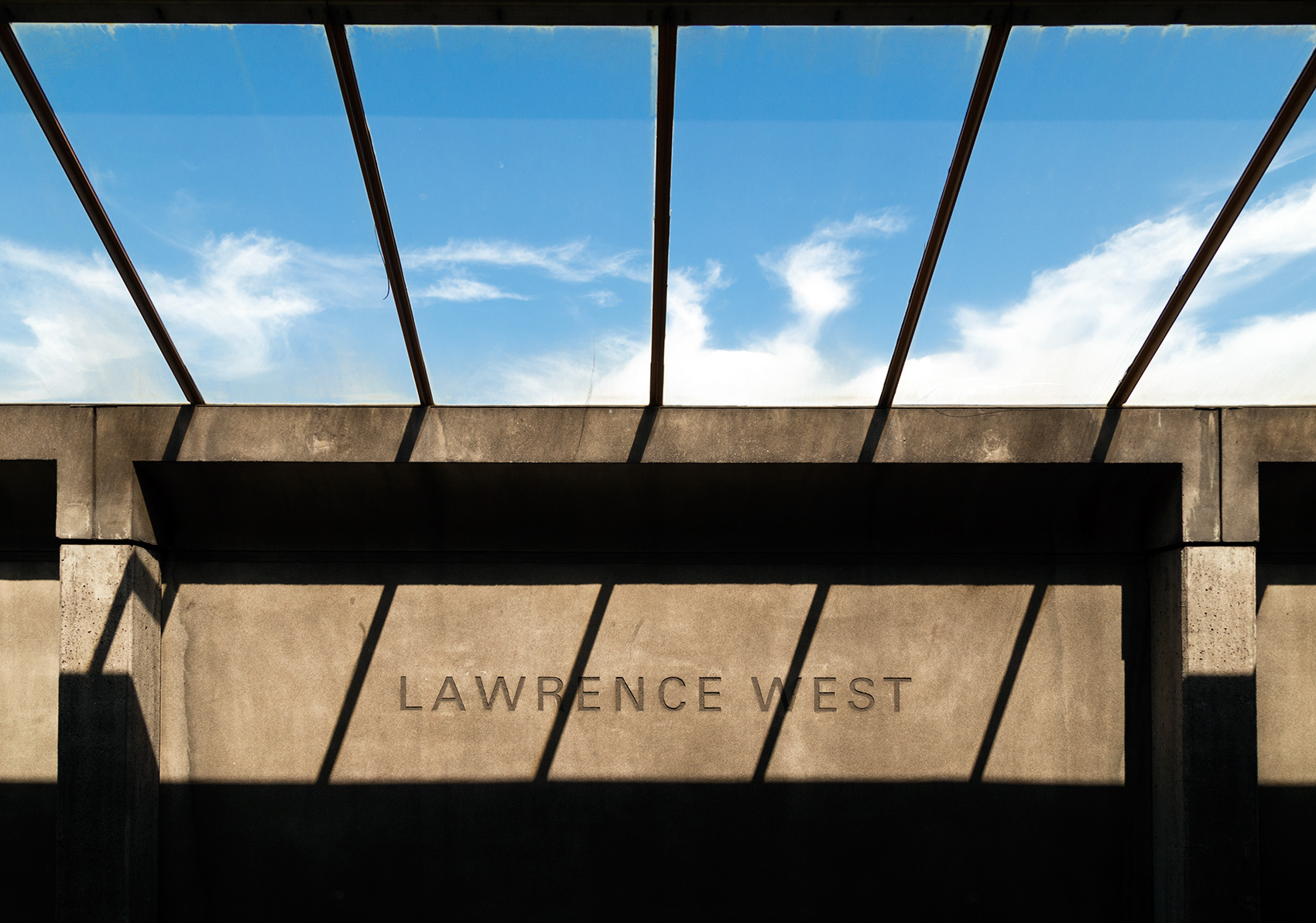 20150718. Blue sky bars and concrete shadows.  Lawrence West sub