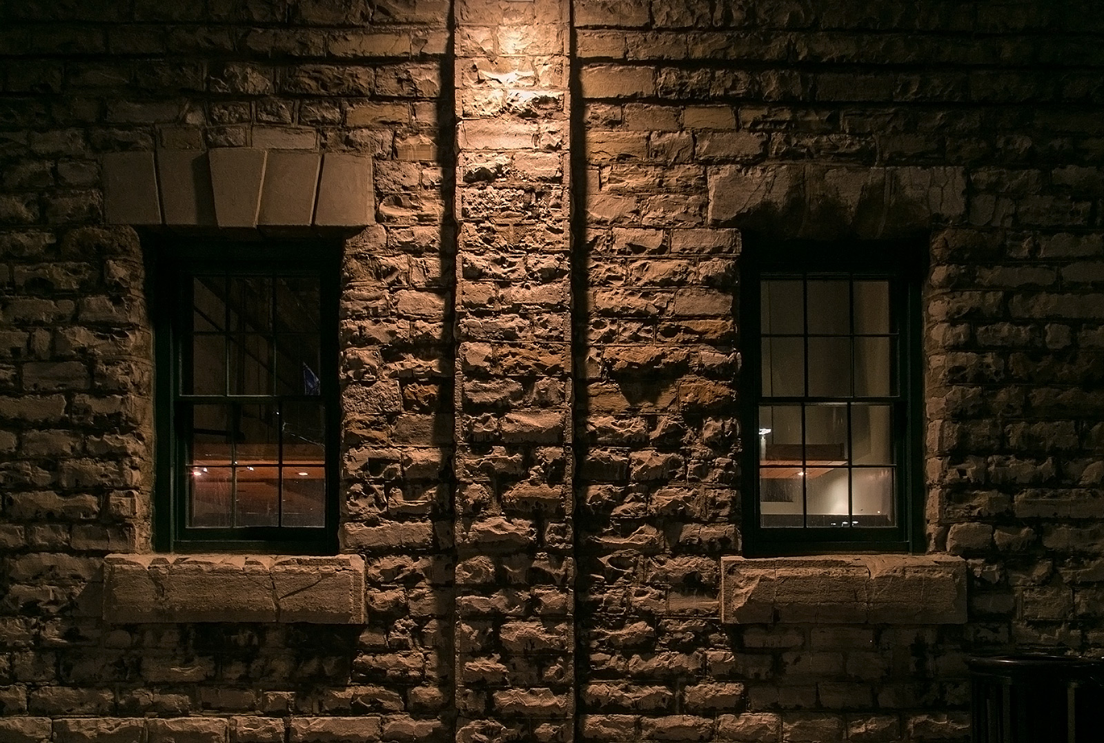 20140118. Two windows in a 154-year-old stone wall. Minimal Aesthetic #22.