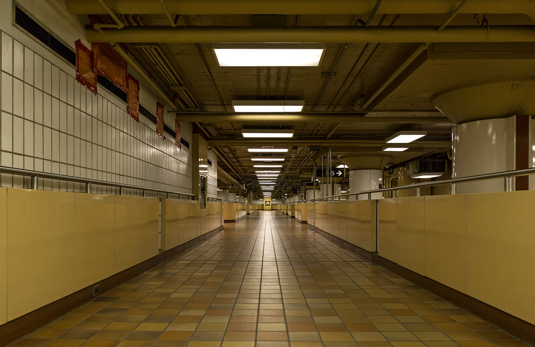 20150812. A conduit for commuters and an empty gangway of lights