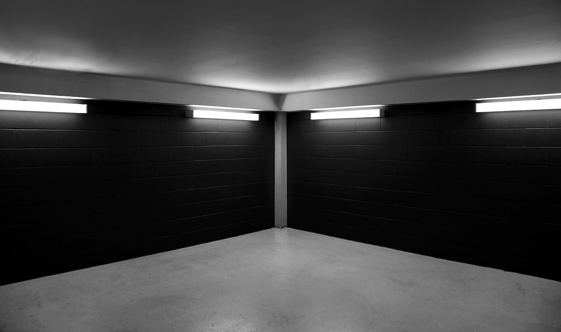 20150829. Four fluorescent lights cast shadows in a corner. Mini
