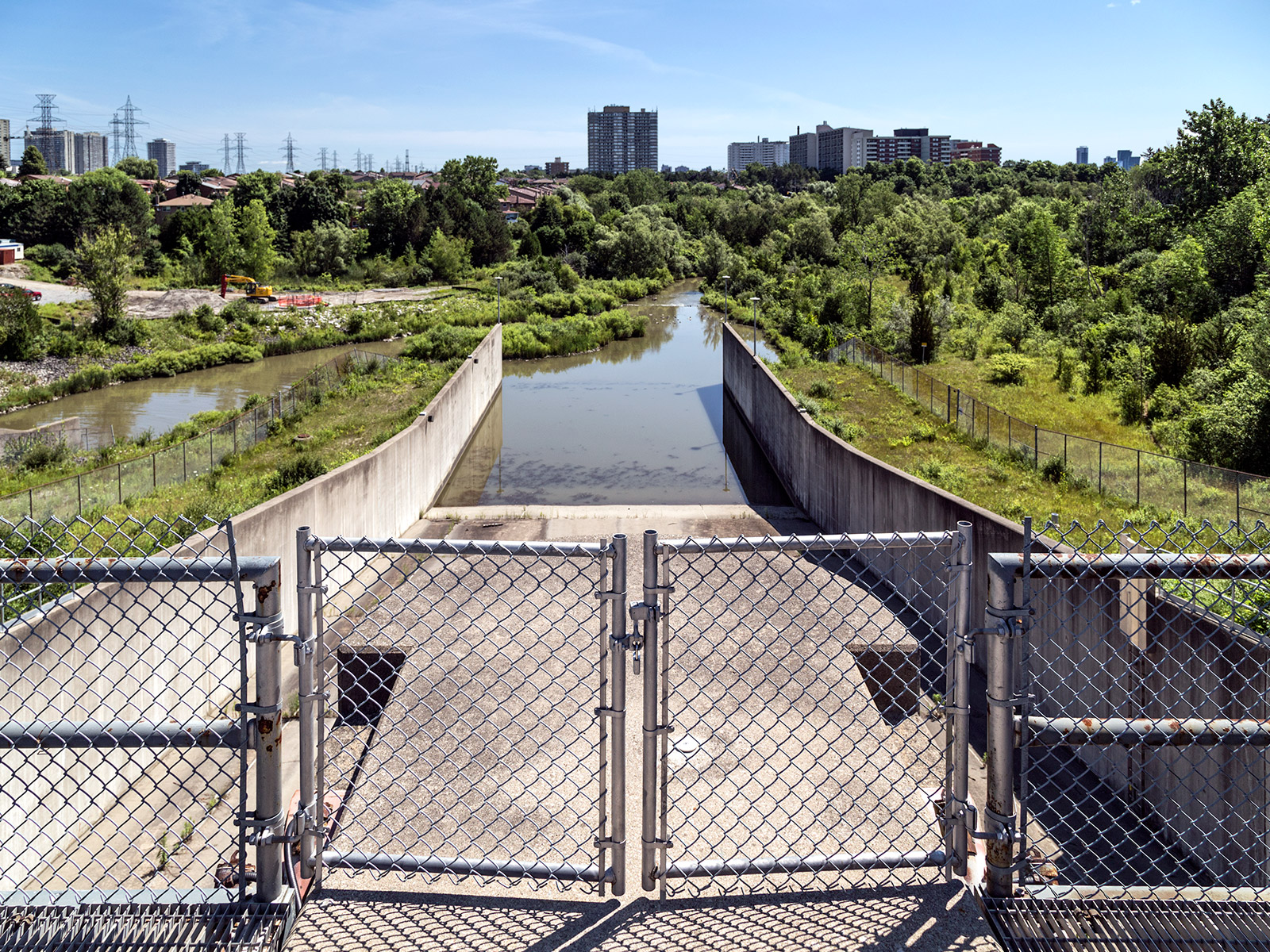 20150908. Looking down the spillway of Toronto's G. Ross Lord Fl