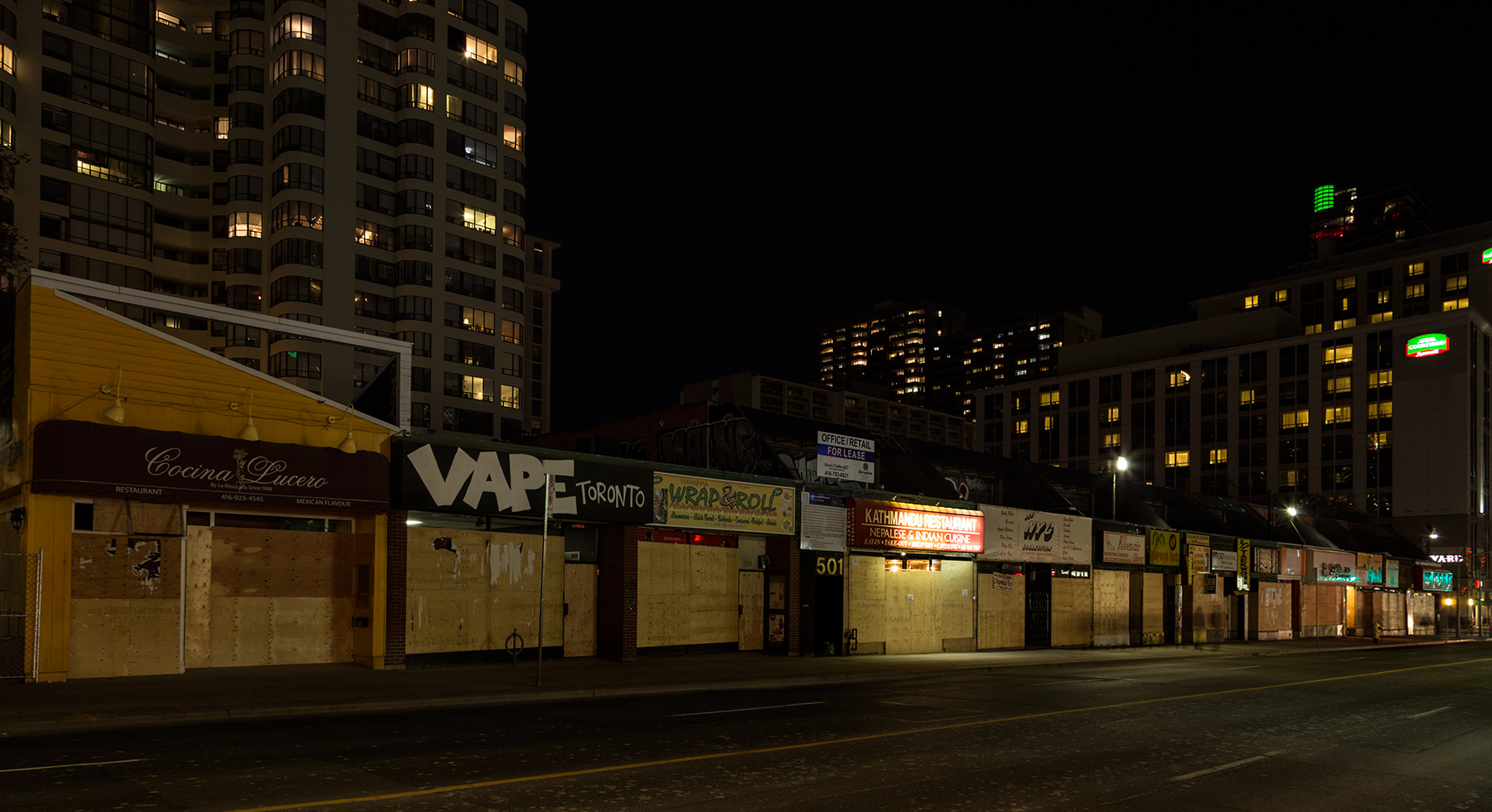 20151027. A boarded up block of Toronto's Yonge Street will be