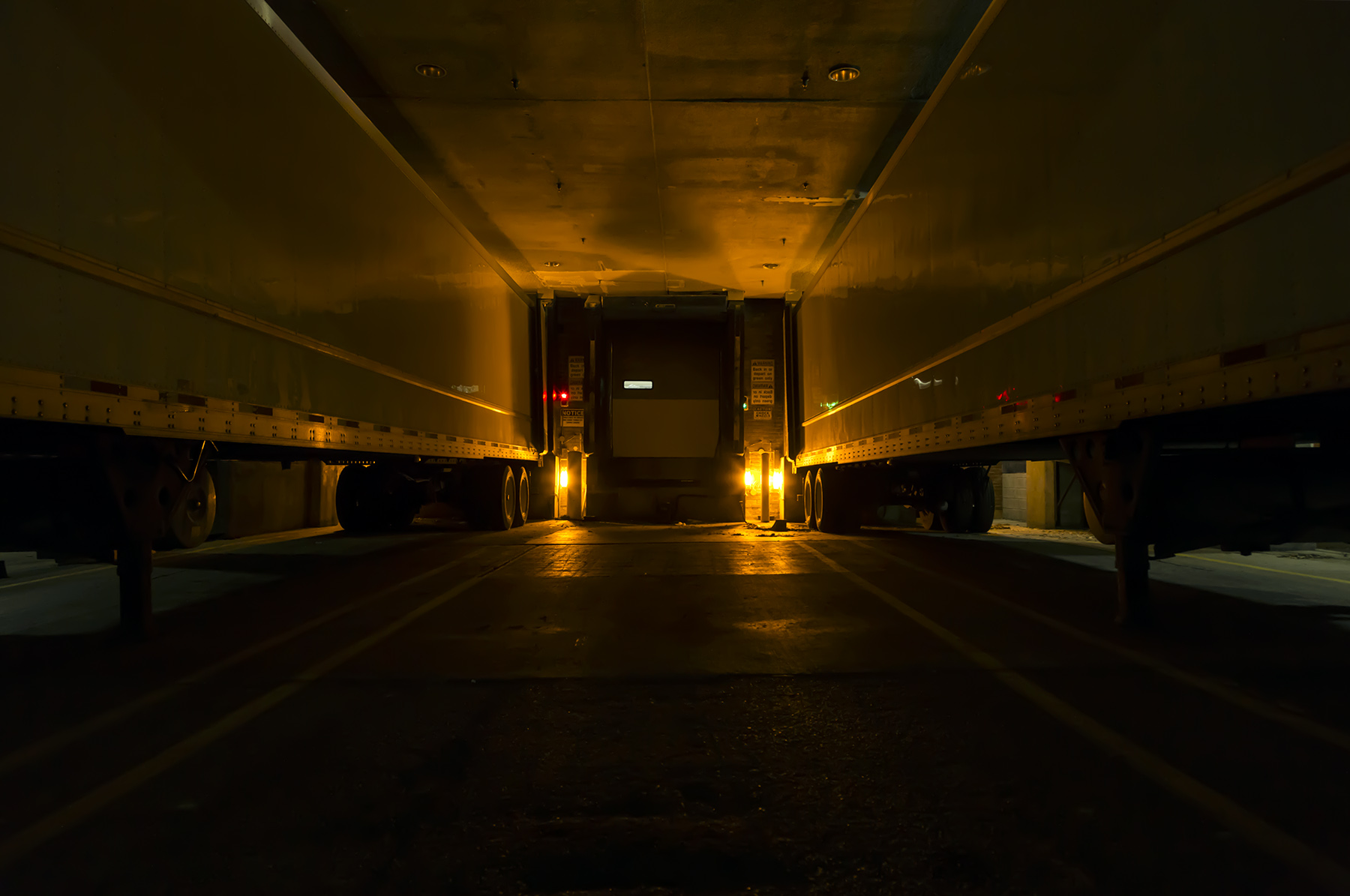 20151221. In a Toronto chocolate factory loading bay at night.