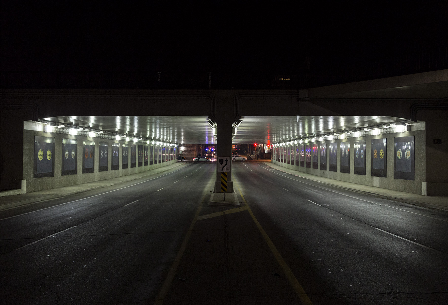 20160109. Approaching the bright Dufferin Street underpass at ni