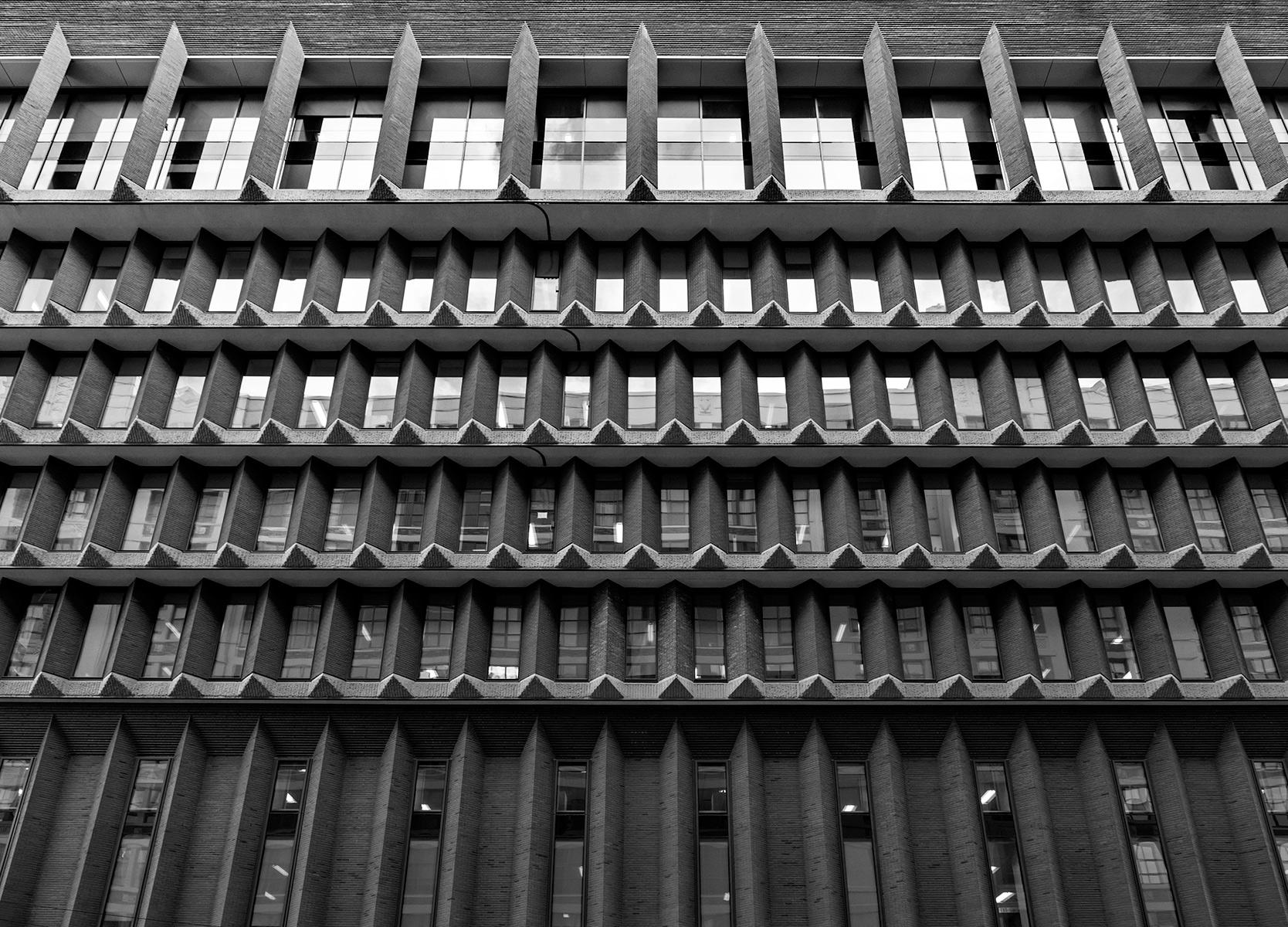 20160219. The facade of an inverted brutalist ziggurat.