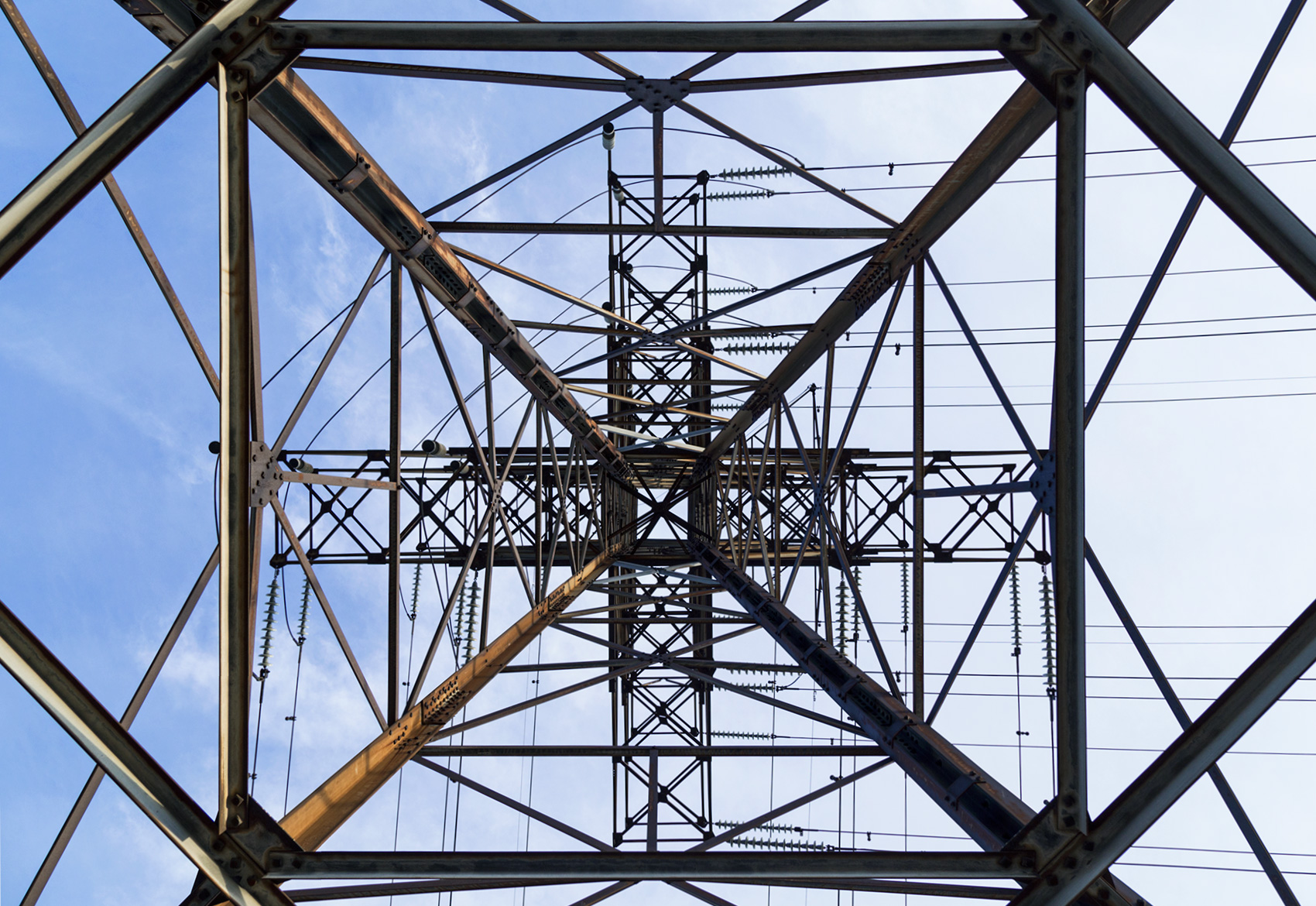 20160223. A transmission tower that changes the direction of pow