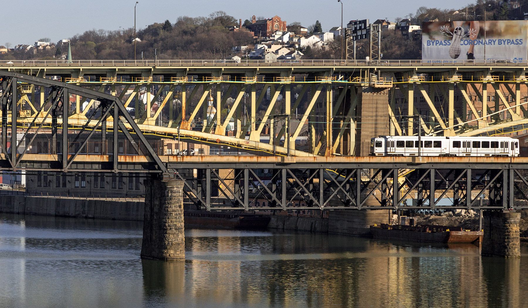 20160405. Crossing Pittsburgh's Monongahela River on a Port Auth