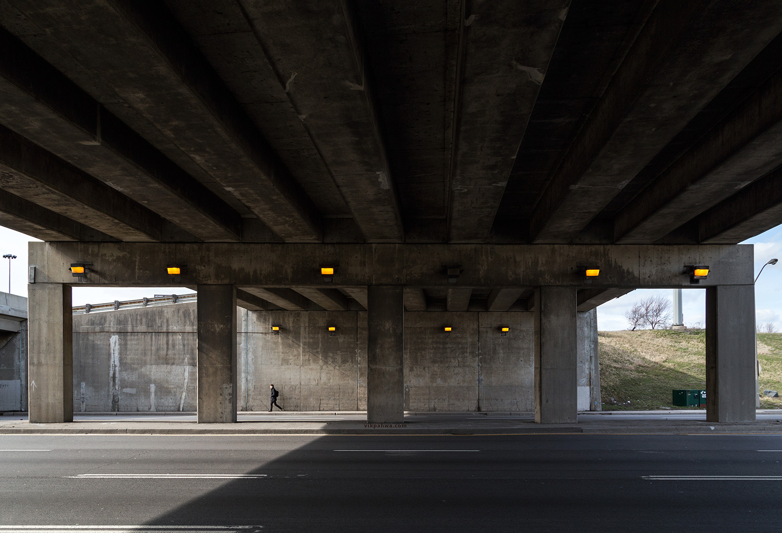 20160411. A man puts a highway overpass into scale (showing just