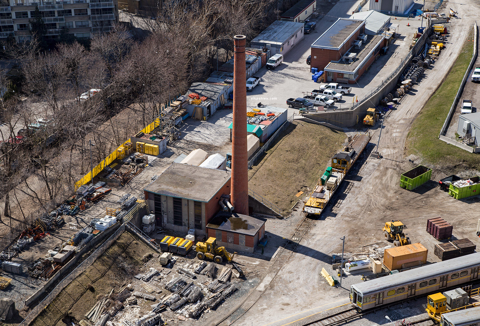 20160413. A bird's eye view of a smokestack perch at TTC's Davis