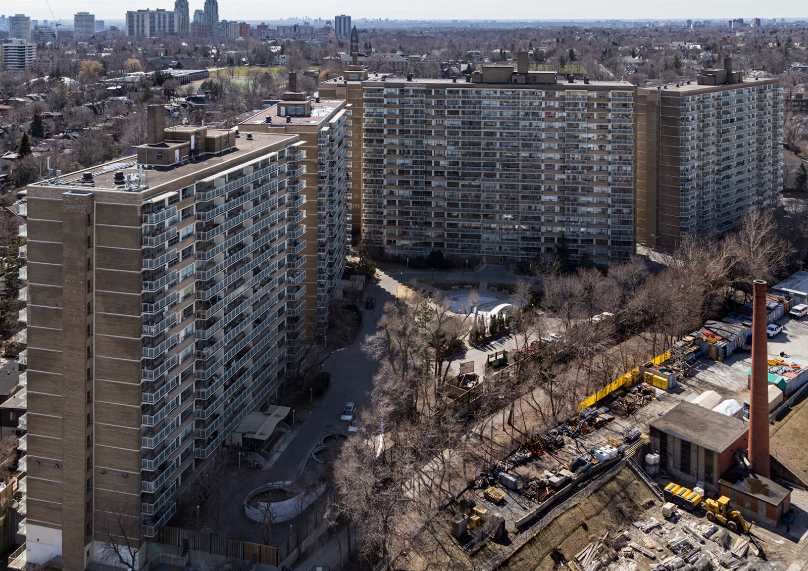 20160426. An aerial view of the Brentwood Towers in Toronto's Wa