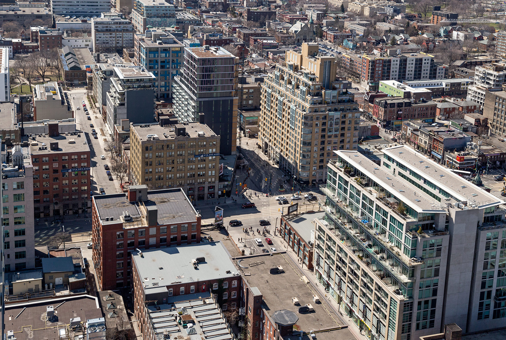 20160512. An aerial view of Toronto's Fashion District and the n