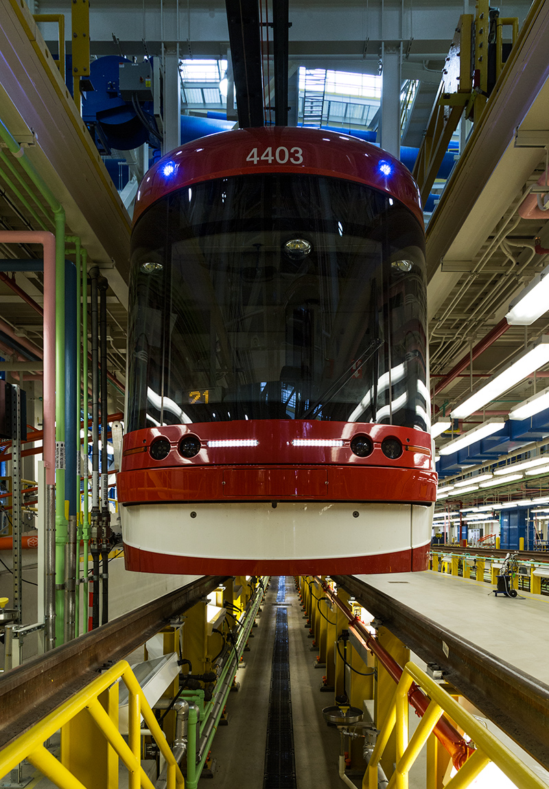 20160528. Floating Flexity streetcar at TTC's Leslie Barns Maint