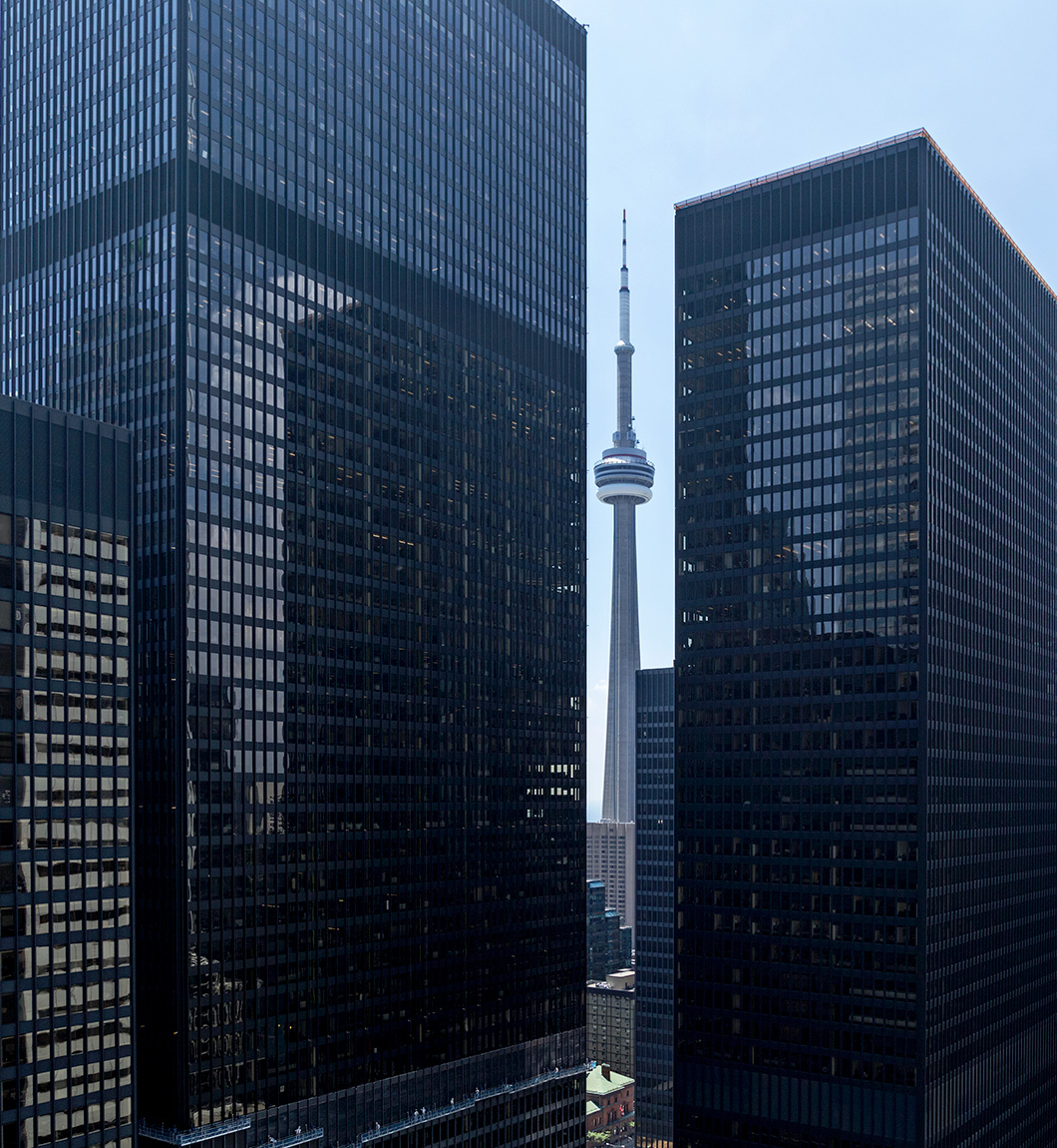 20160716. Sneaking a peek at Toronto's CN Tower through Mies van