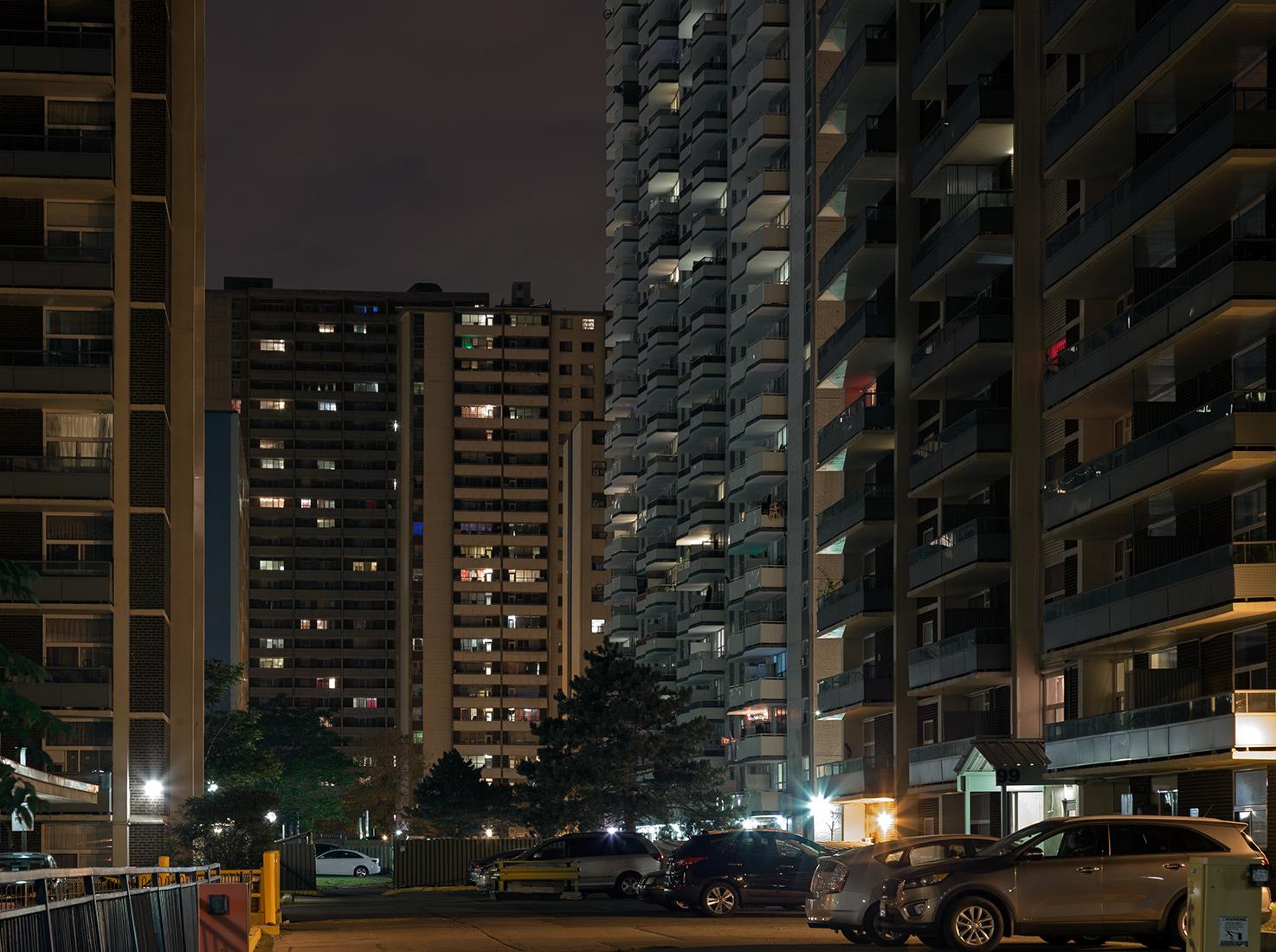 20160811. The towering modernist forms of St. James Town at nigh
