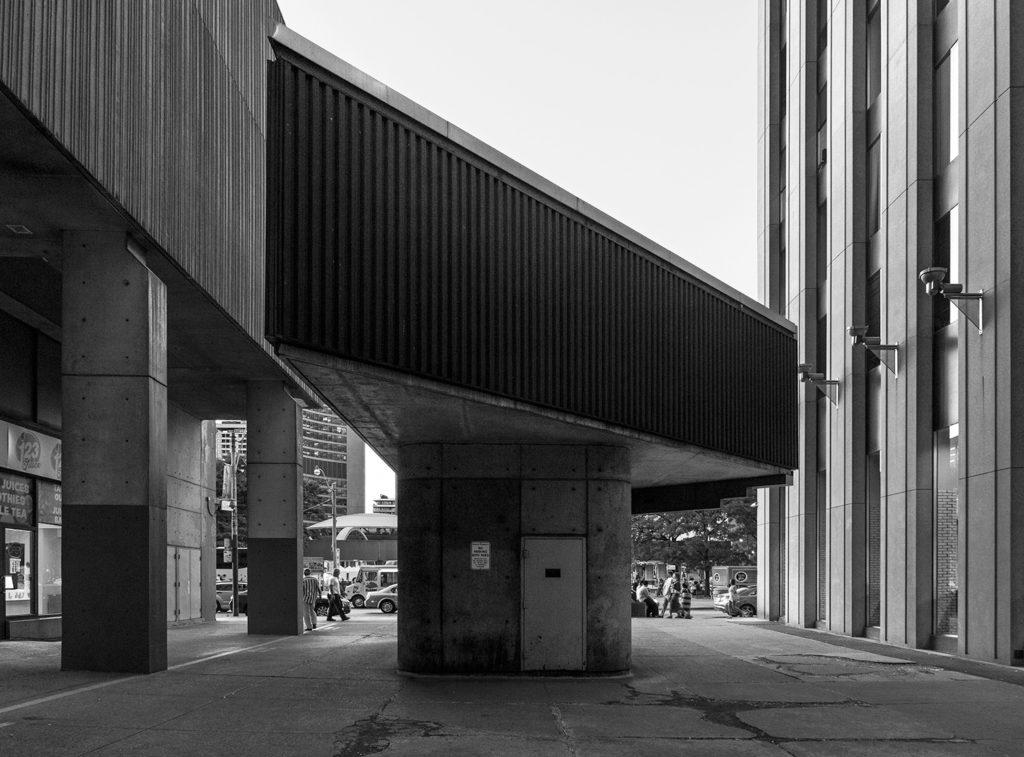 20160902. Sheraton Centre's brutalist triangular prism marquee m