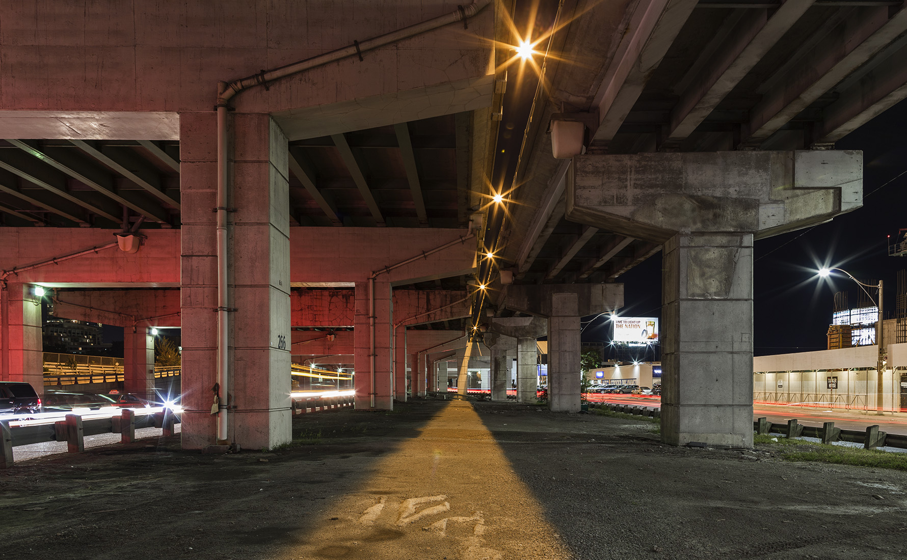 20160912. Seeking out shadows in the night under the Gardiner Ex