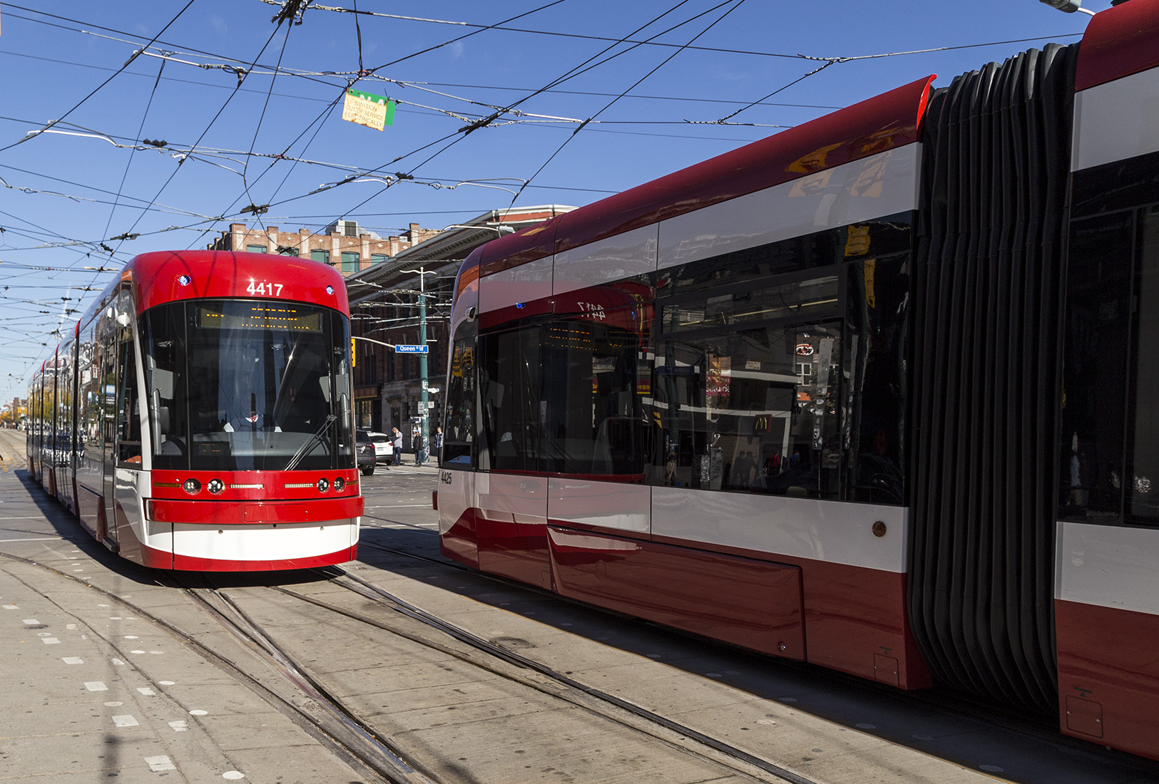 20161020a. 4417 vs. 4425. Two TTC 510 Spadina Flexity streetcars