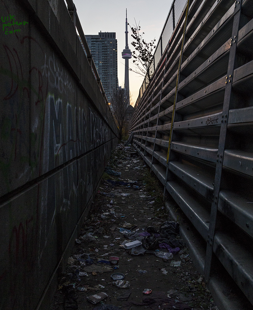 20161116. Between embankment, off-ramp and refuse, the CN Tower