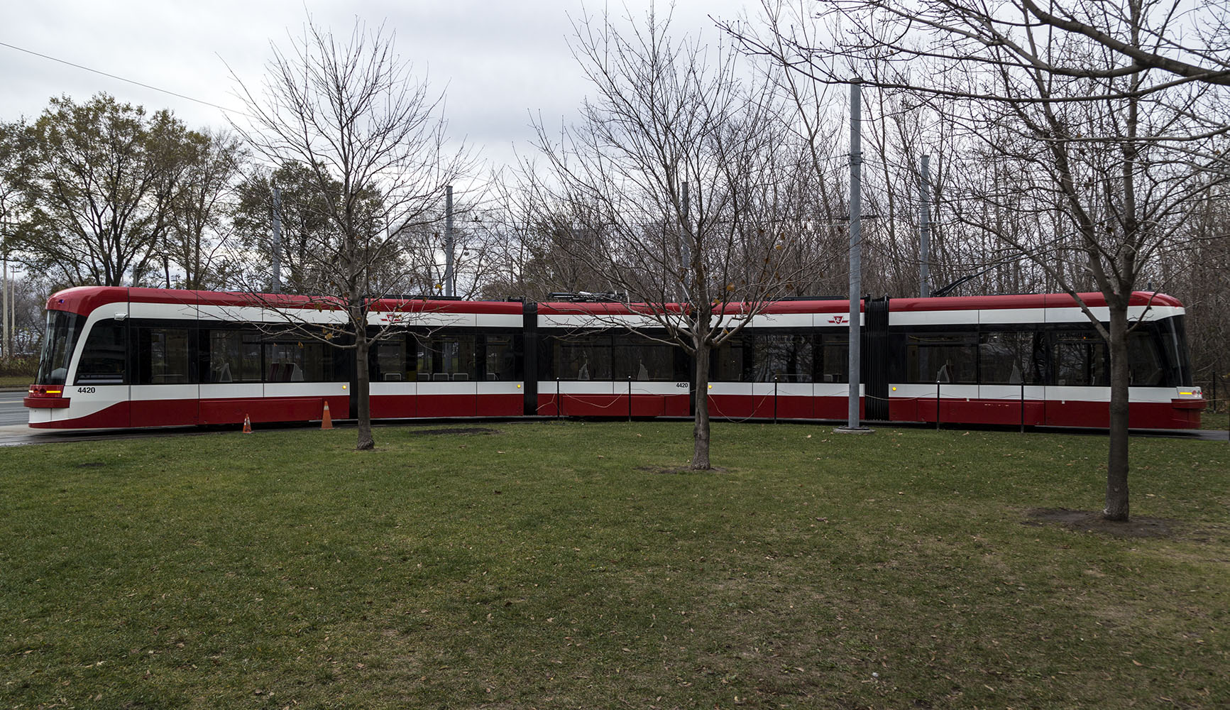 20161201. LRV in the landscape. A new TTC streetcar turns around