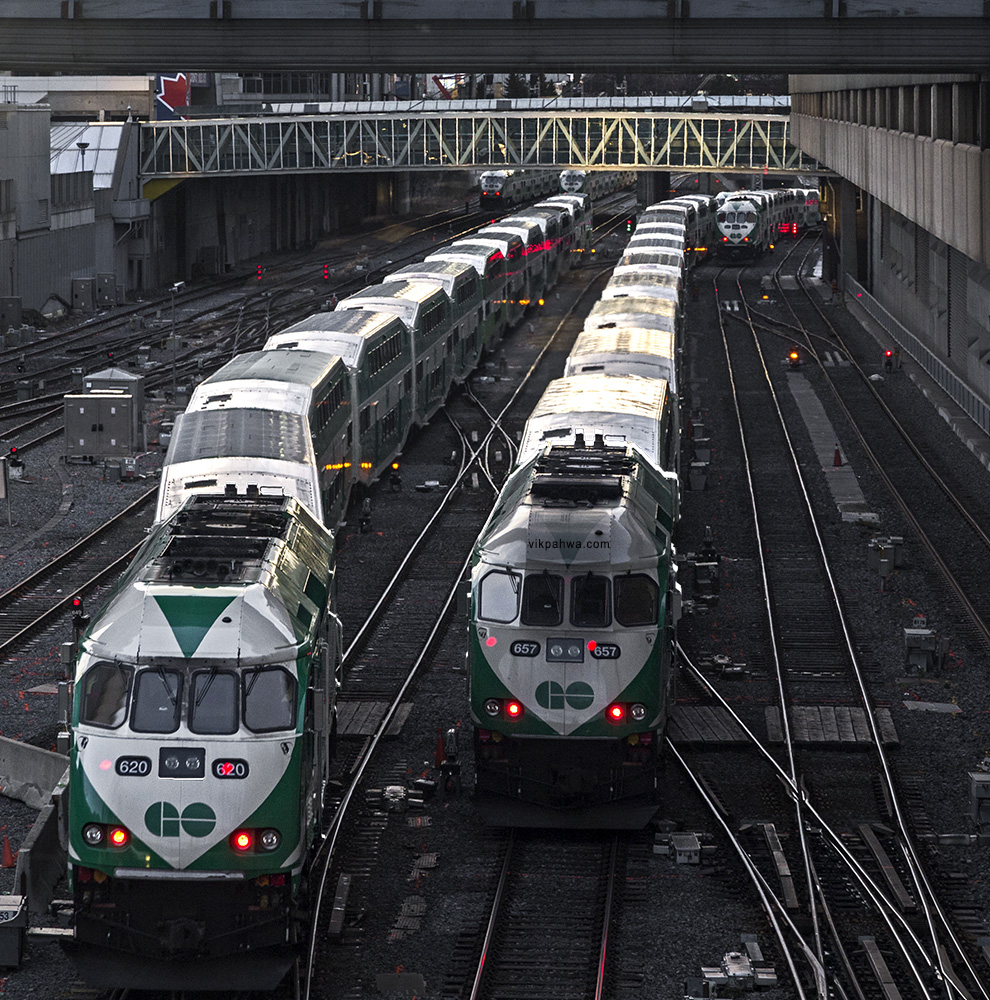 20161228. Five GO Trains depart Union station heading westbound